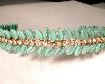 1940's Vintage Mint Turquoise Glass & Rhinestone Gold Bridal Headband, Blue Green Leaf Vine Crown,Aqua Headpiece Rustic Country Chic Jewelry