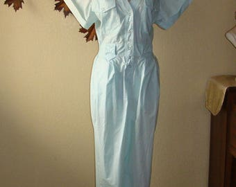 Altogether Fashions 80's Jumpsuit Mint Green Snap Front Long Pants Short Sleeve Romper 7/8 S to M