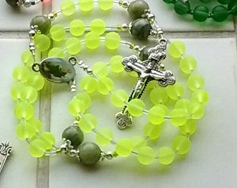 Bright Green St Patrick rosary