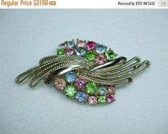 SALE 50% OFF Vintage Sara Conventry GORGEOUS Multi Colored Rhinestone Brooch