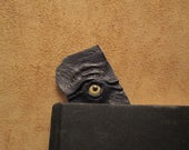 Grichels leather bookmark - dark blue with honey brown coyote eye