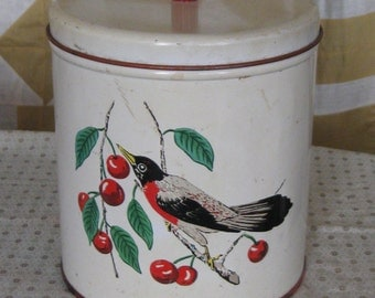 Vintage Lithographed Vintage Tin Canister With Lid - Red Breasted Robins & Cherries