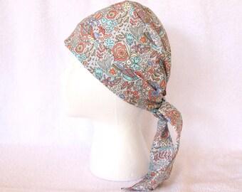 Scrub Caps for Women - Tie back Surgical Scrub Cap, Scrub Hat, Grey background, orange, mint