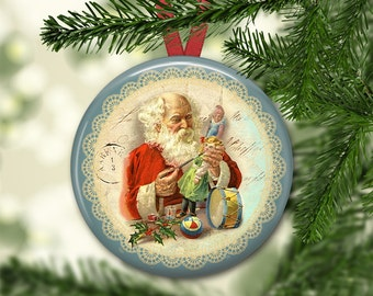 "3.5"" Santa Claus decorations- vintage christmas tree decoration- Victorian Santa ornaments for Christmas decorations- kitchen decor MA-HOL-5"