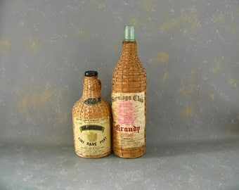 Vintage Wicker Wrapped Bottles, TWO, Demijohn, small, carboy, Saratoga Brandy, Port