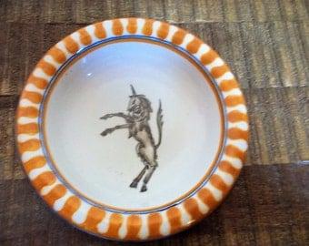 Vintage Italian Pottery Leocorno Palio di Siena Unicorn Trinket Dish