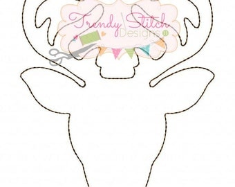 Deer Head Silhouette Applique Design machine embroidery design INSTANT DOWNLOAD