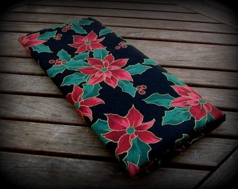 Christmas Fabric, Black Background, Poinsettia Fabric, 1 Yard 8 inches, Red Poinsettia Fabric, Berries and Flowers, Cotton, Black Green Red