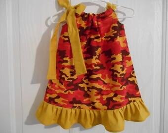 Girls camo pillowcase dress blaze camo choose of color of tie/ruffle infant thru 7/8 years