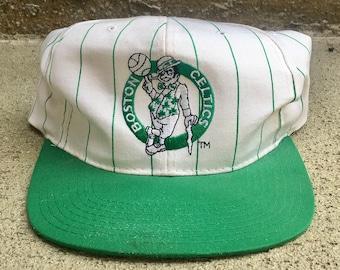 Vintage Boston Celtics Pinstripe Snapback Starter Hat