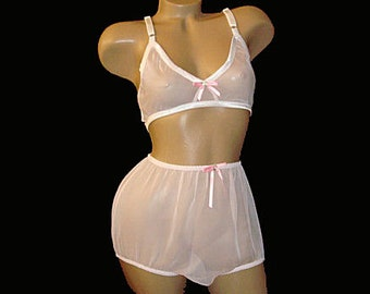 Adult sissy Bra & Granny Panties Set in Chiffon specially made for men - custom made for you