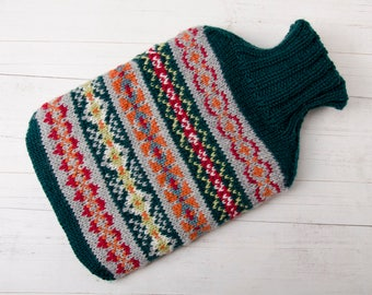 Knitted hot water bottle merino wool, green fairisle