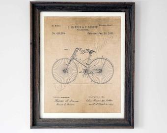 Digital download, Bicycle Patent drawing, wall art print
