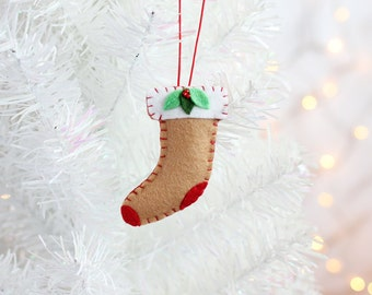 Stocking Ornament, Handmade Christmas Ornament, Holiday Decoration, Hostess gift, Christmas Decor, Hand-stitched, ready to ship