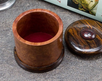 Madrone Burl Box with Cocobolo and Red Poppy Jasper Cabochon