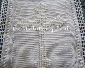 "Crochet Celtic Cross Blanket ePattern, PDF ePattern, 32"" x 26"" (81 cm x 66 cm) approximately"