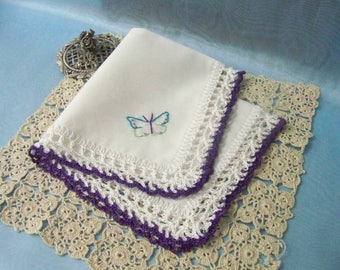 Crochet Handkerchief, Hanky, Hankie, Hand Crochet, Lace, Ladies, Purple, Butterfly, Embroidered, Personalized, Monogrammed, Ready to ship