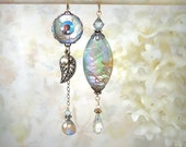 Daybreak Asymmetric Earrings Aqua Shell Earrings Labradorite Gemstone Earrings Mismatch Earrings Siren Mermaid Ocean Beach Wedding Seashell