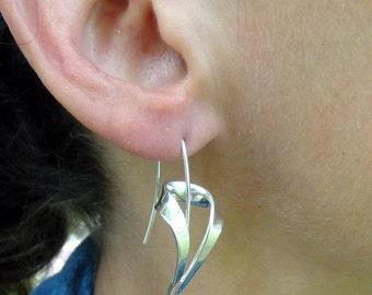 Silver Earrings-Argentium-Dangle-Freeform-Art Jewelry