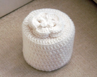 Cottage Rose Crochet Toilet Paper Cover, White Flower Cozy, Storage, Bathroom Organization