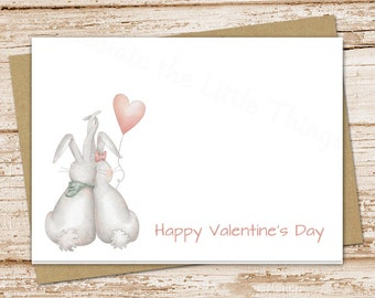 happy valentine's day cards . folded greeting cards . bunny love, heart balloon cards . watercolor bunnies stationery . set of 6