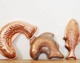 Vintage Fish Mold Lot of 3 Copper Colored Molds Kitchen Home Decor Set