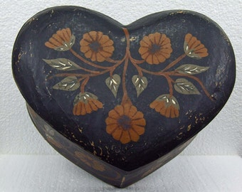 Large Vintage Paper Mache Toleware Tole Ware Heart Shaped Storage Box Hand Painted and Signed Cottage Chic Folk Art