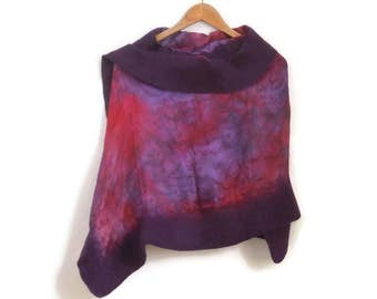 purple and red felted silk shawl