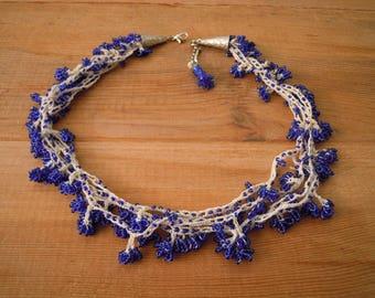 short blue necklace, crochet beaded