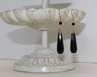 Genuine Black Faceted Onyx Earrings, Gold-Plated Earwires, Civil War Appropriate -- Affordable Elegance