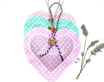 Embroidered Lavender Heart Sachet x1. Pretty Spot Cath Kidston Lavender Sachet.Perfumed Heart Pillow. Love. Handmade Hanging Lavender Bag