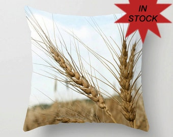 Wheat Pillow Cases, Mens Gift for Farmer, Blue Man Cave Farmhouse Decor, Beige Rustic Bench Throw Cushion Covers, Botanical Art Decor