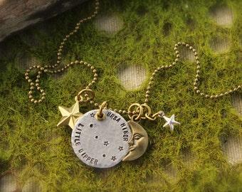 Little Dipper Constellation Star Moon Necklace