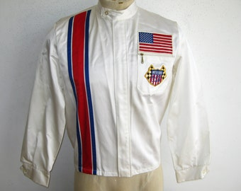 Vintage 70s Indianapolis Motor Speedway Auto Club Indy 500 Nylon Racing Stripe Jacket