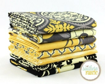Aviary 2 by Joel Dewberry  7 Fat Quarters Bundle Quilt Fabric - Free Spirit Vintage Yellow Palette