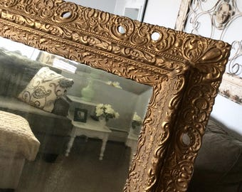 """DECORATIVE ANTIQUE MIRROR For Sale Large Baroque 49""""x27"""" Long Narrow Rectangle Mirror Ornate Gold Solid Wood Gold Vintage Mirror Decorative"""