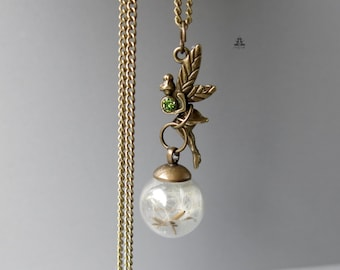 Necklace - Fairy with dandelions in a glass ball