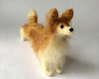 Needle Felted Long Haired Papillion or Pomeranian Dog
