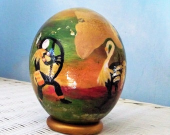 African gift, Ostrich egg art, Decorated egg shell, Painted ostrich egg, South African decor, Primitive cave art, Ethnic decor, cave man