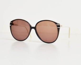 Vintage 70s 80s Oversized Valentino Sunglasses Shades / Black and White Frames