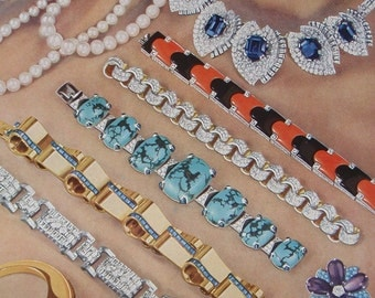 JEWELRY a vintage book print  'BIJOUX' by Adolphe Millot published in 1948