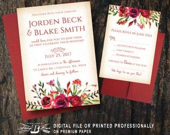 red wedding invites | etsy, Wedding invitations