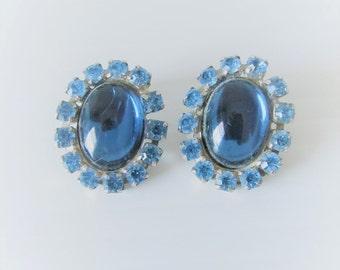 Vintage 1950's Blue Rhinestone Earring Set / Bright Sky Blue Jewelry Clip On Earrings
