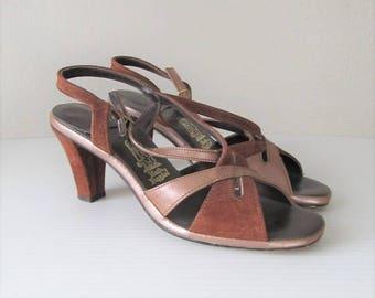 40% OFF SALE Vintage 1960's Hush Puppies Sandals / Size 7.5 Woman's Leather Mod Retro Heels