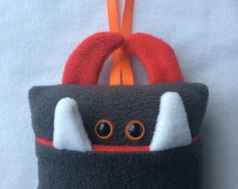 Tooth Fairy Pillow   Dark Grey and Red Tooth Monster   Tooth Fairy Monster Pillow