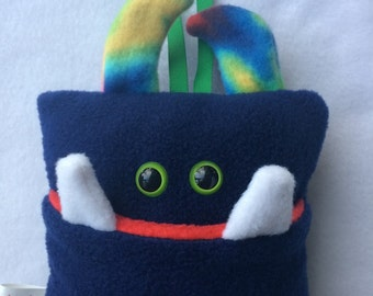 Tooth Fairy Pillow   Navy Blue Tooth Monster   Tooth Fairy Monster Pillow
