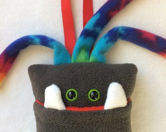Tooth Fairy Pillow | Dark Gray and Tie Dyed Tooth Monster | Tooth Fairy Monster Pillow