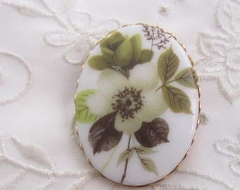 Vintage Gold Tone Oval White China Brooch with Olive and Pale Green Flowers and Leaves