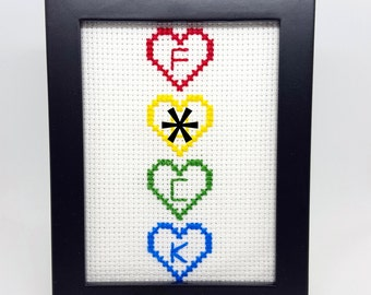 F*CK | Rainbow Hearts | Cross Stitch Art | Funny Gift | Custom Colors Available | Unique Handmade Art Gift