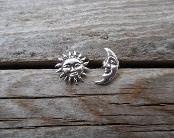 Sun and moon stud earrings handmade in sterling silver